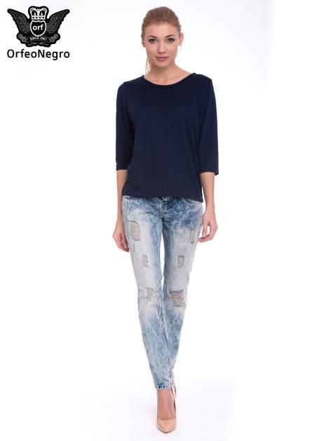 Niebieskie spodnie jeansowe z wytarciami                                  zdj.                                  4