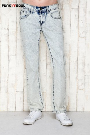 Niebieskie spodnie męskie z motywem acid wash Funk n Soul