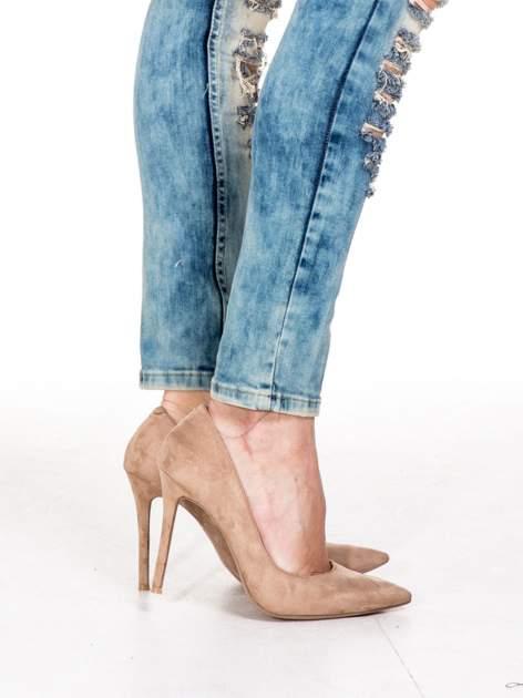 Niebieskie spodnie skinny jeansy z rozdarciami typu cut out                                  zdj.                                  8