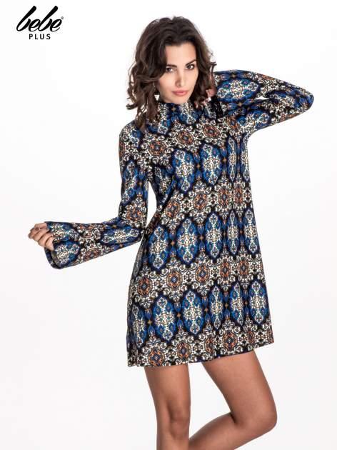 Niebieskie sukienka etno z rozszerzanymi rękawami                                  zdj.                                  1