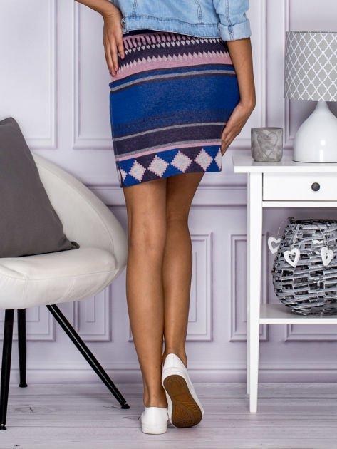 Niebiesko-różowa spódnica w azteckie wzory                                  zdj.                                  2