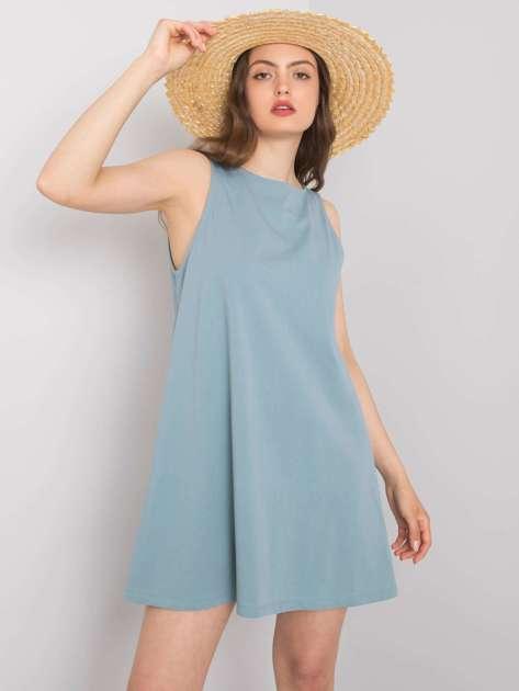 Niebiesko-szara sukienka na co dzień Susan RUE PARIS