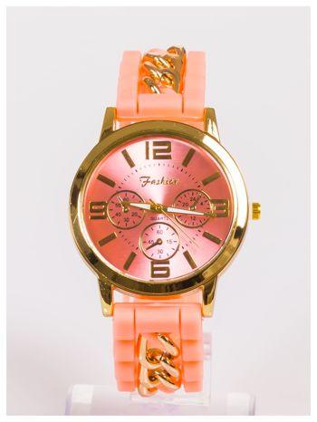 Nowoczesny damski zegarek z łańcuszkiem i ozdobnym chronografem na wygodnym silikonowym pasku                                  zdj.                                  1