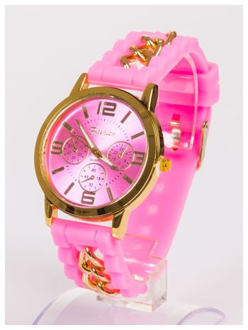Nowoczesny damski zegarek z łańcuszkiem i ozdobnym chronografem na wygodnym silikonowym pasku                                  zdj.                                  2