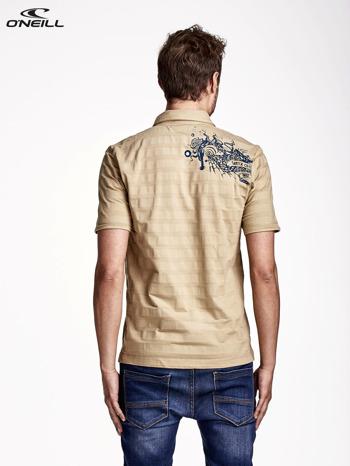O'NEILL Beżowy t-shirt męski z nadrukiem na plecach
