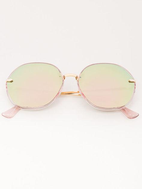 MANINA Okulary przeciwsłoneczne damskie złote szkło różowo-zielone lustrzanka                              zdj.                              1