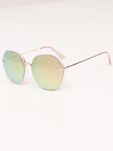 MANINA Okulary przeciwsłoneczne damskie złote szkło różowo-zielone lustrzanka                              zdj.                              3