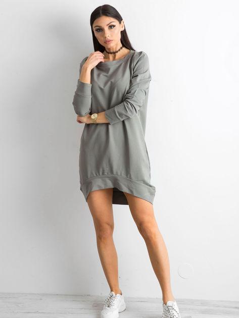 Oliwkowa dresowa tunika basic                              zdj.                              4