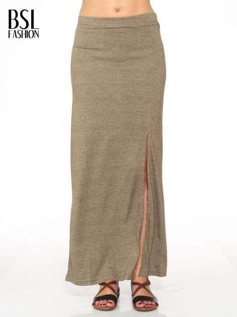 Oliwkowa melanżowa spódnica maxi z rozcięciem                                  zdj.                                  1