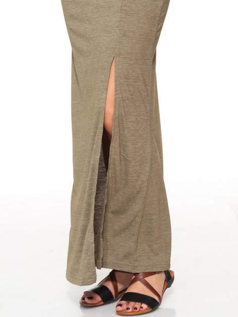 Oliwkowa melanżowa spódnica maxi z rozcięciem                                  zdj.                                  5