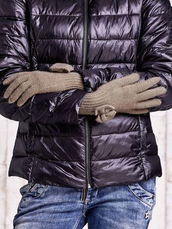 Oliwkowe rękawiczki z kokardką i długim ściągaczem                                  zdj.                                  2