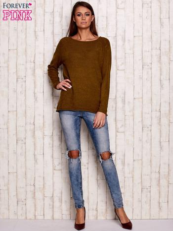 Oliwkowy dzianinowy sweter                                   zdj.                                  2