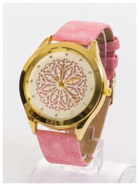 Ozdobny damski zegarek. Tarcza ozdobiona ładnym delikatnym motywem.                                  zdj.                                  2