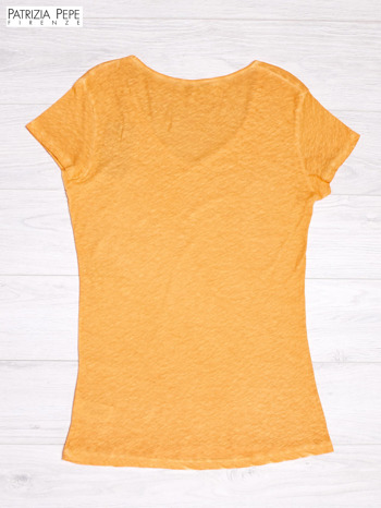 PATRIZIA PEPE Pomarańczowy t-shirt z trójkątnym dekoltem                              zdj.                              2
