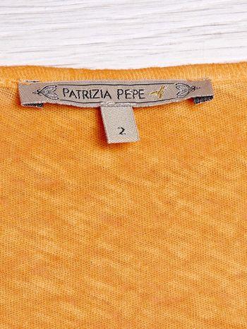 PATRIZIA PEPE Pomarańczowy t-shirt z trójkątnym dekoltem                                  zdj.                                  3