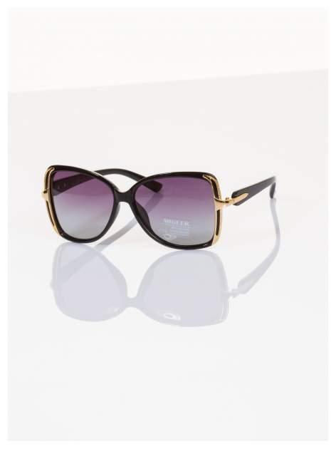 POLARYZACJA Eleganckie czarne okulary stylizowane na GUCCI ze złotymi bokami+GRATISY                                  zdj.                                  2