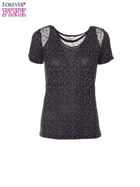 Panterkowy t-shirt z koronkowymi wstawkami przy dekolcie                                  zdj.                                  2