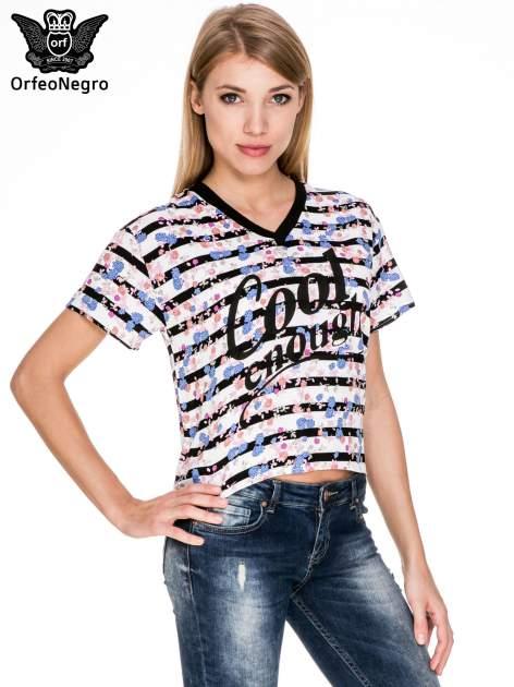 Pasiasty t-shirt z napisem GOOD ENOUGH                                   zdj.                                  1