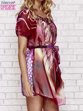 Patchworkowa sukienka mgiełka z paskiem i aplikacją                                  zdj.                                  3