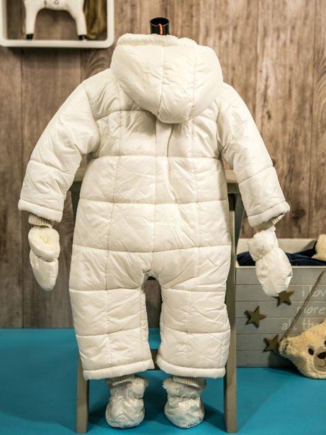 Pikowany zimowy kombinezon dziecięcy biały                              zdj.                              2
