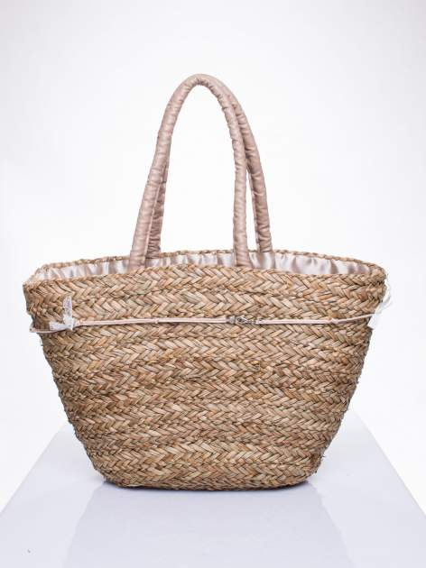 Pleciony koszyk plażowy z brązowymi ozdobnymi kwiatami                                  zdj.                                  4