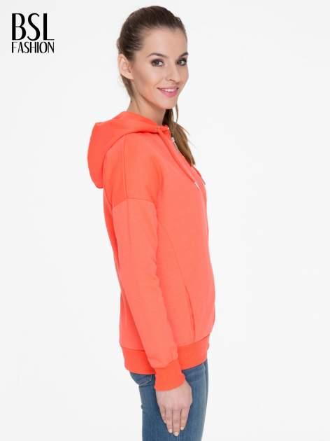 Pomarańczowa bluza damska z kapturem zasuwana na suwak                                  zdj.                                  3