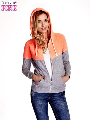 Pomarańczowa bluza z szarym pasem