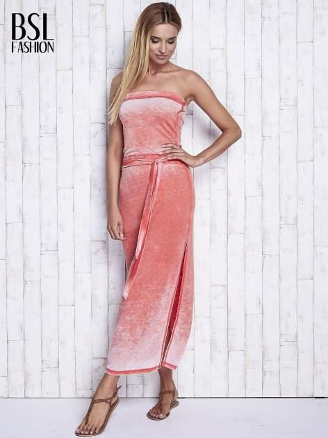 Pomarańczowa dekatyzowana sukienka maxi na gumkę                                  zdj.                                  4