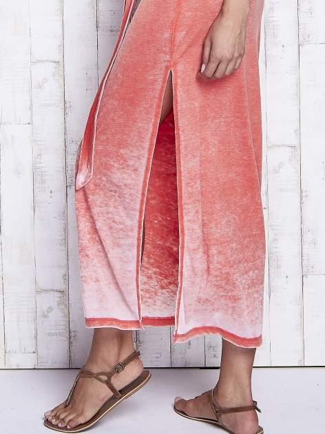 Pomarańczowa dekatyzowana sukienka maxi na gumkę                                  zdj.                                  6