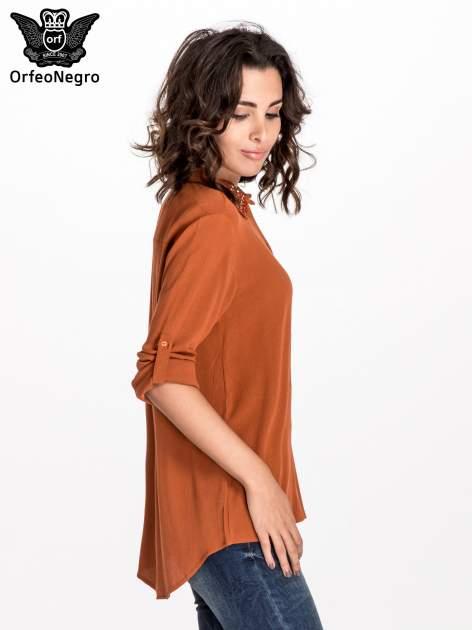 Pomarańczowa koszula z kołnierzykiem zdobionym kamieniami                                  zdj.                                  7