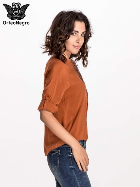 Pomarańczowa koszula ze wzorzystą wstawką w stylu etno                                  zdj.                                  3