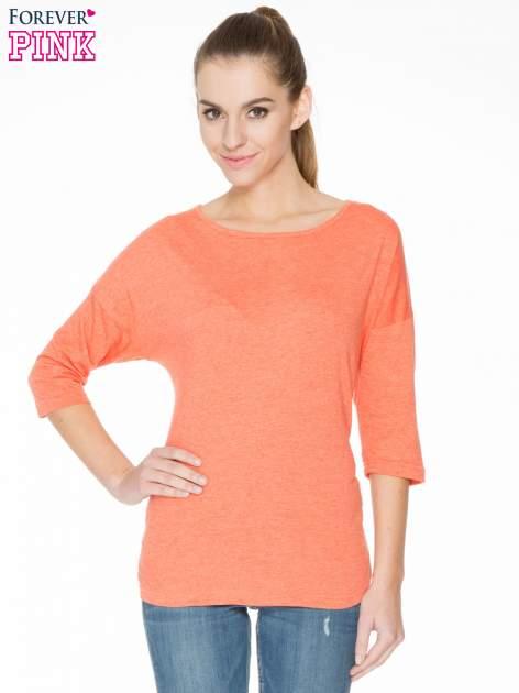 Pomarańczowa luźna bluzka z rękawem 3/4                                  zdj.                                  1