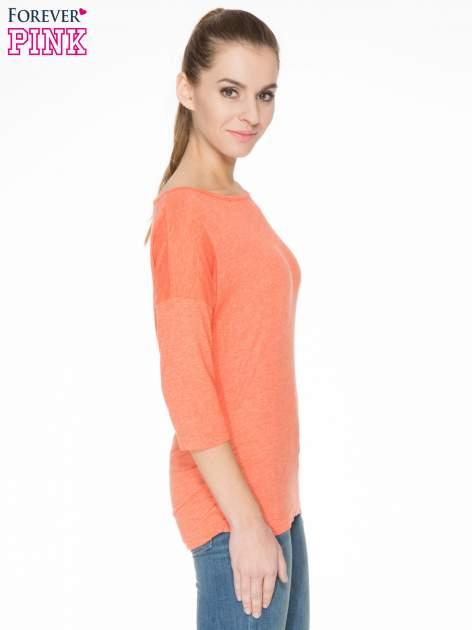 Pomarańczowa luźna bluzka z rękawem 3/4                                  zdj.                                  3
