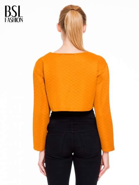 Pomarańczowa pikowana bluzka cropped                                  zdj.                                  4