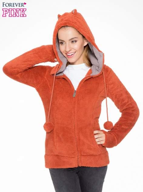 Pomarańczowa polarowa bluza miś z kapturem z uszkami i pomponami                                  zdj.                                  6
