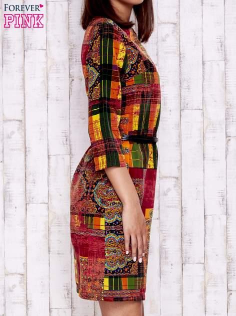 Pomarańczowa sukienka w kolorowe etniczne wzory                                  zdj.                                  3