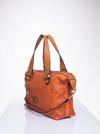 Pomarańczowa torba damska z ażurowym wykończeniem                                  zdj.                                  3