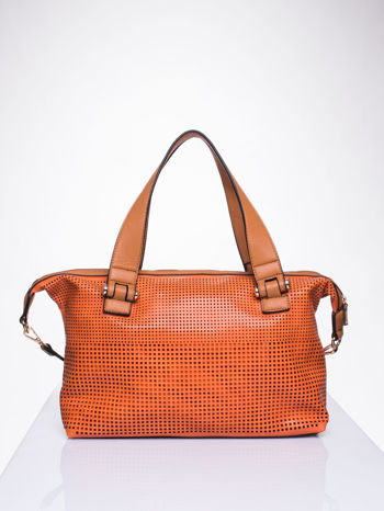 Pomarańczowa torba damska z ażurowym wykończeniem                                  zdj.                                  2