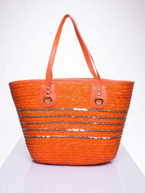 Pomarańczowa torba koszyk plażowy z cekinami                                  zdj.                                  3