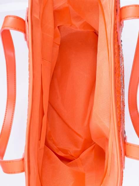 Pomarańczowa torba koszyk plażowy z cekinami                                  zdj.                                  4