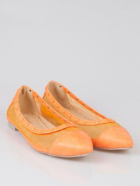 Pomarańczowe baleriny Crystal leather z siateczką i ćwiekami                                  zdj.                                  2