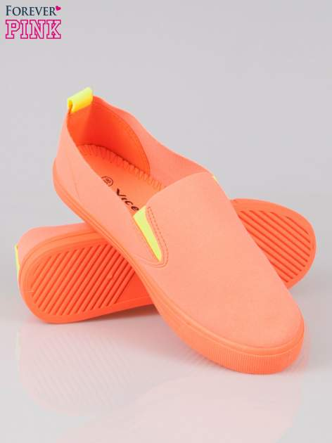 Pomarańczowe buty slip on                                  zdj.                                  4