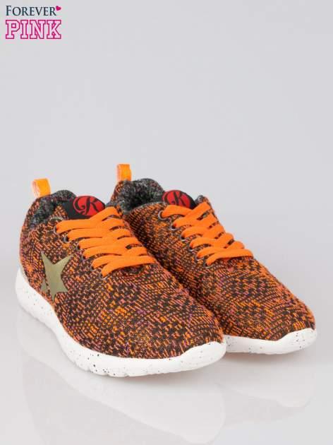 Pomarańczowe buty sportowe dual material Level Up z tweedu                                  zdj.                                  2