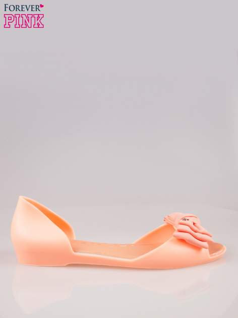 Pomarańczowe gumowe baleriny peep toe z materiałową kokardą