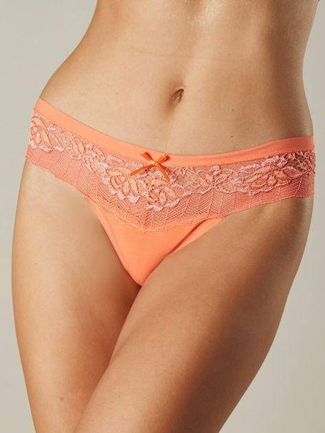 Pomarańczowe koronkowe stringi damskie