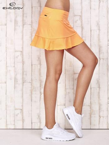 Pomarańczowe spodenki spódniczka tenisowa z falbanką                                  zdj.                                  3