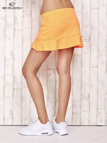 Pomarańczowe spodenki spódniczka tenisowa z falbanką                                  zdj.                                  2