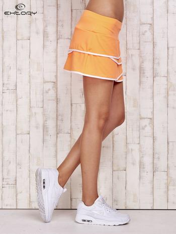 Pomarańczowe spodenki spódniczka tenisowa z falbankami                                  zdj.                                  3
