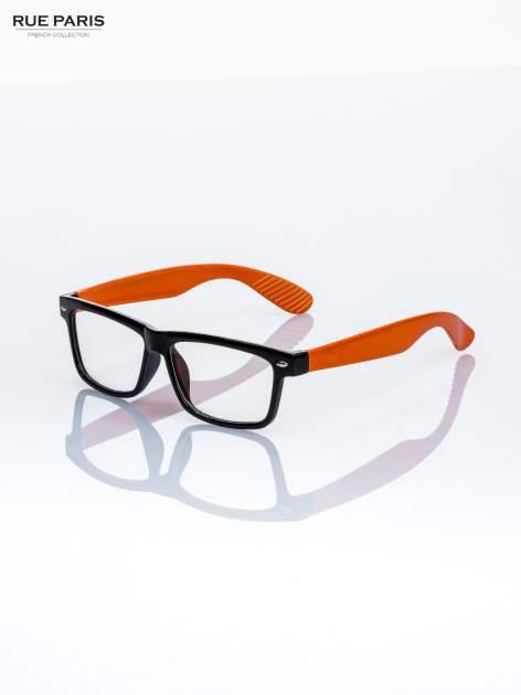 Pomarańczowo-czarne okulary zerówki kujonki                                  zdj.                                  2