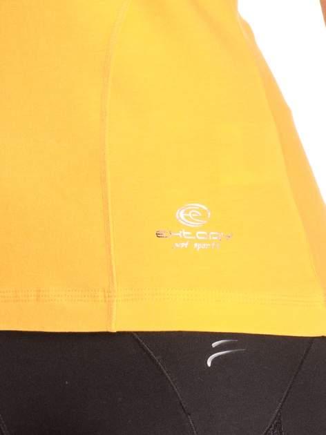 Pomarańczowy damski t-shirt sportowy z dekoltem V PLUS SIZE                                  zdj.                                  5